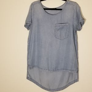 Express high low chambray blouse